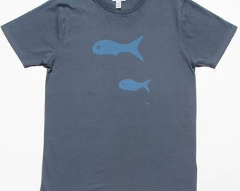 Little Fish on Men's Petrol Blue, Ethically Produced, 100% Organic Cotton T-Shirt ~ Hand Drawn and Hand Screen Printed in London