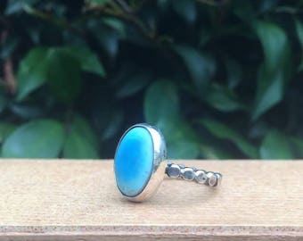 Silver Blue Howlite Ring / Sterling Silver Ring Howlite Ring / Blue Gemstone Ring / Mermaid Ring / Blue Stone Ring / Blue Crystal Ring Vegan