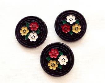 Glass Button from 1940s ~ Czech Glass Buttons ~ 19mm ~ Black Glass ~ Button Collection ~ Alpine Dress