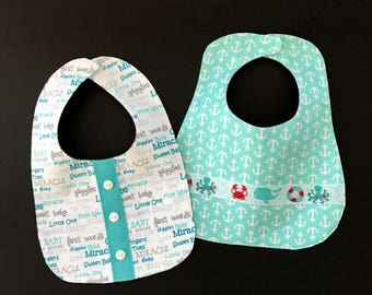 Infant Bibs; Baby Boy Bibs; Infant Bib Set; Bandana Print Bib; Nautical Bib; Aqua Baby Bibs; Dressy Bibs for Baby Boys; Bibs for Infants