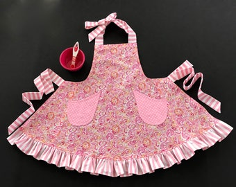 Girl's Ruffled Apron, Little Girl's Paisley Print Apron, Pink Paisley Print Apron, Girl's Bib Apron, Apron with Pockets, Kid's Apron