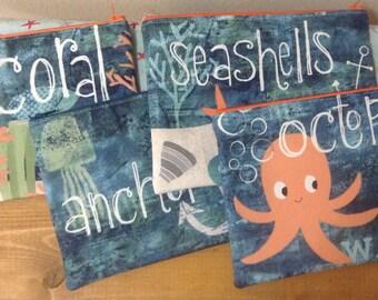 Under the Ocean Blue Zipper Pouch, Zippered Pouch, Makeup Pouch, Travel Bag, Beach Bag Pouch, Cosmetics Case, Gift, Pencil Pouch