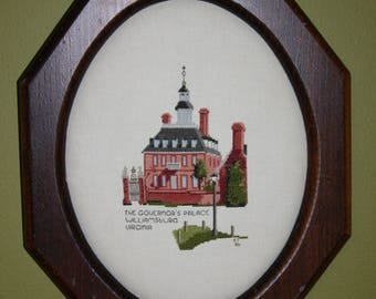 Framed Vintage Cross Stitch Embroidery Needlepoint The Governor's Palace Williamsburg Virginia