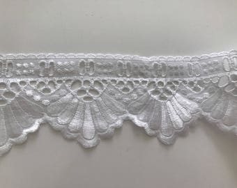 Lace white broderie anglaise with past Ribbon 6.5 cm width