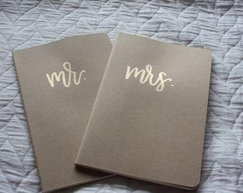 personalized mr. & mrs. embossed notebook set