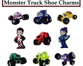 Monster Trucks Shoe Charms (36) Total Pieces (28) Trucks (4) Racing Guys (4) Racing Girls Auto Racing Trucks Cartoon Trucks Croc Shoe Charms