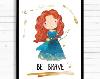 Disney Gift, Disney Princess, Disney Lover Art, Disney, Disney Inspiration, Disney Quote, Tiana, Daughter Gift, Merida, Brave