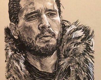 Game of Thrones Jon Snow Portrait Original Artwork