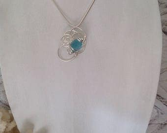 Sterling silver fancy wired Seaglass necklace