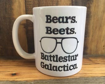 office cups. Bears Beets Battlestar Galactica Mug The Office TV Show Quotes Dwight Schrute Cups