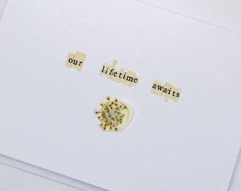 Our Lifetime Awaits Handmade Wax Seal Dried Flower Wedding Card
