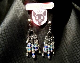 Stormee originals genuine swarovski crystal bead earrings in amethyst and peridot
