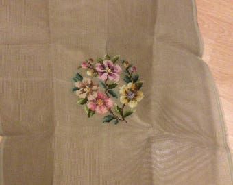 Preworked Needlepoint Canvas circular Floral Designs