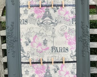 Paris Themed Pin Board, Memo Board, F&B painted ornate wood frame - 62cms x 42cms