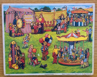 Vintage 1977 Wooden Fairground Carnival Jigsaw Puzzle Made in Bournemouth