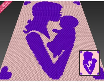 Mother and Child Silhouette crochet blanket pattern; c2c, cross stitch; graph; pdf download; no written counts or row-by-row instructions