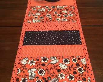 Salmon and navy table runner