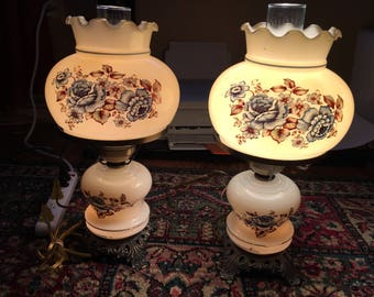 Matching Pair of Blue Flowered Hurricane Lamps