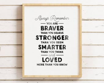 You Are Braver Than You Believe, Nursery Printable, Nursery Art Print, Nursery Wall Art, Inspirational Quote Nursery, Watercolor Print