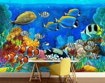 underwater wallpaper, underwater wall mural, sea wall mural, underwater world wall mural, self-adhesive , water wall mural, peel and stick