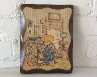 Vintage Holly Hobbie Praying Wood Wall Plaque - 1970s