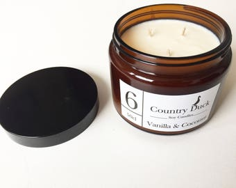 Vanilla & Coconut 500ml amber jar soy wax candle. Triple wick candle made in Dartmoor, Devon. Perfect for relaxation.