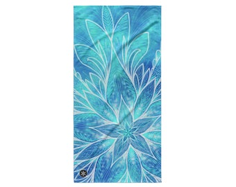 BEACH TOWEL - Mandala Flower Beach Towel - Red Blue Purple Floral Flowers Towel - Wynterco - Beach Towel bath towel bathroom big large