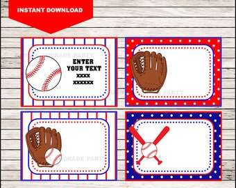Baseball Printable Cards, tags, book labels, stickers, kids cards, gift tags, labeling, scrapbooking EDITABLE INSTANT DOWNLOAD