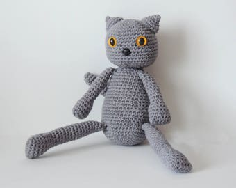 Plush, cat, stuffed, cat lover gift, animal, crochet, grey, amigurumi, knitted, cat, pet, cat, soft, toy, toddler, birthday, gifts, kitty