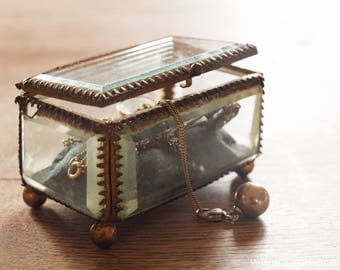 Sweet antique French jewelry box with beveled glass, wedding ring box