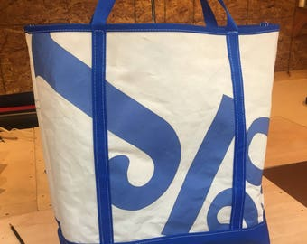 Sail Cloth - Recycled Sail Tote with Blue Bottom and Handles