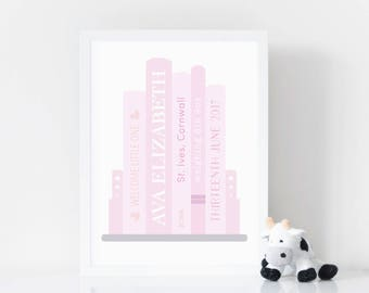 Personalised Baby Girl Print - Personalised Book Print - Baby Girl Gift - New Baby Print - Nursery Print - Nursery decor - 8 colour options