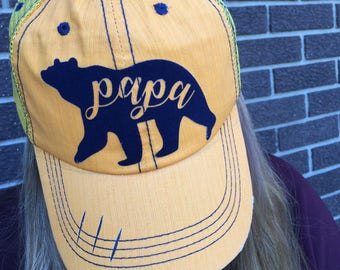 Papa Bear Distressed Trucker Hats-Gold w/Navy Flocking