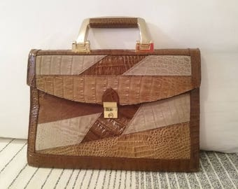 Brown leather patchwork, vintage 70's, a port documents bag