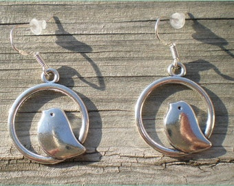 Love Bird Earrings, Charm Earrings, Sterling Silver Hooks, Hypoallergenic
