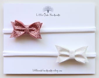 Set of 2 Wool Felt Glitter Bows - Rose Pink Glitter, Iridescent White Glitter - Baby Headband - Nylon Headband