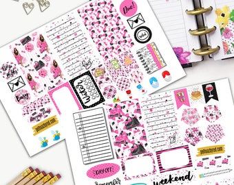 Fashion Girl Theme Planner Weekly Sticker SMALL Kit, CLASSIC Happy Planner Sticker, Weekly Set, Stickers, Printed, Cut, Pink, Minnie, Mouse