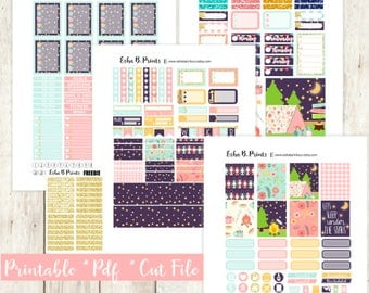 Outdoor Adventure Printable Planner Stickers/Weekly Kit/Erin Condren/Cut Files Cricut June Summer Camping Glam Tent Bonfire Marshmallow