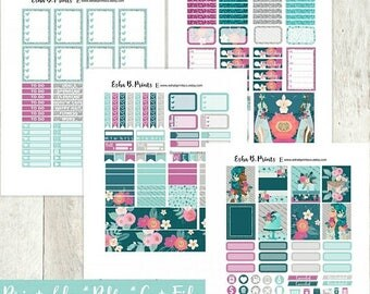 Aquamarine Printable Planner Stickers/Weekly Kit/For Use with Erin Condren/Cutfiles Fall September Goddess Glitter Fashion