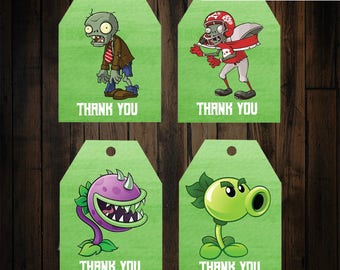 Plants vs Zombies Thank you tags - Plants vs zombies birthday party - plants vs zombies party supplies - zombie thank you tags