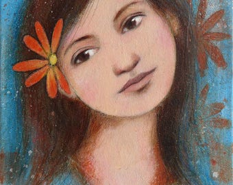 "Painting portrait of young brunette ""Songe 3"" 25 x 30 cm, dream, flower, spring"