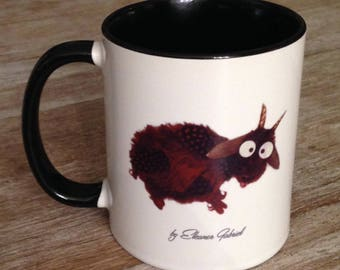 Black mug with funny goat and humorous text