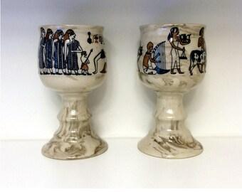 Two Lauren Egyptian King Tut Japan Stoneware Goblets