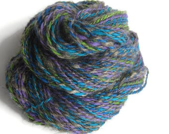 Kid Mohair and Wool Hand Spun Yarn, DK Weight, Dark Gray with Electric Blue, Teal, Lime Green, and Purple