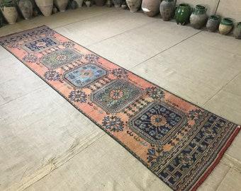 "2""8x11""2 ft/85x340 cm, Hallway rug runner, vintage Oushak rug runner, entry rug runner,Persian rug runner, vintage Oushak rug, moraccon rug"
