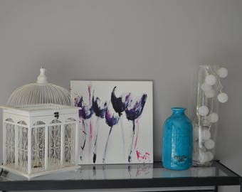 indigo magenta tulips canvas painting
