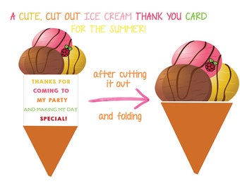 Icecream Thank You Card, Ice Cream Thank You, Cut Out Thank You Card, Funny Icecream Card, Icecream Printable thank you card, printable, ins