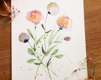 6x9 Western Motif Cute Wildflower Motif Artwork