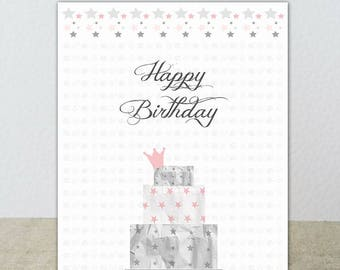 Birthday card in pastel tones with a beautiful cake!