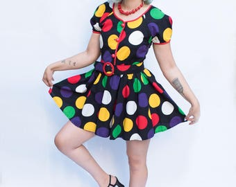 1980's Polka Dot Novelty Print Mini Dress